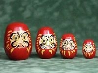 The KamLAND matroyshka. From left to right: the outer detector (OD), the inner detector (ID), the outer balloon (OB) and the inner balloon (IB). The dolls depicted here are modeled after Japanese Daruma dolls, which are supposedly created after the likeness of Bodhidharma, the founder of Zen-buddhism in Japan.